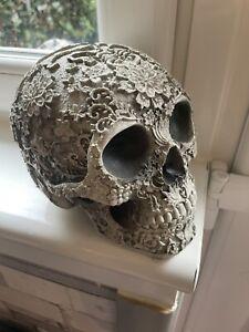 Embossed Flower Design Skull Head Rubber Latex Mould mold Gothic Skeleton Garden