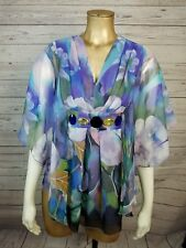 Chloe Watercolor Blue Green Purple Floral Jewelled Drapey Kimono Top Sz 4 (36)