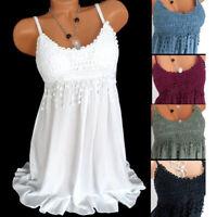 Womens Strappy Mini Lace Vest Dress Sleeveless Party Summer Beach Short Sundress