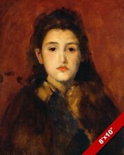 YOUNG GIRL BRUNETTE WOMAN BY JAMES M WHISTLER PAINTING ART REAL CANVAS PRINT