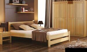 Dormitorio Set Completo 3tlg. Cama Auténtico Mesillas Sólido Madera Mueble Nuevo