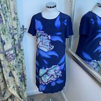 Monsoon Size 10 blue floral silk shift dress party occasion short lined NEW