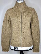 Ann Taylor Beige Donegal Fleck Merino Wool Mock Neck Zip Cardigan Size Small