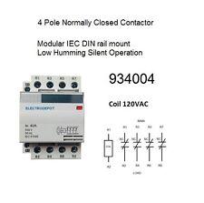 40 AMP Contactor Normally Closed NC 4 Pole 120V coil, 30A 40A 50A 60A OPEN BOX
