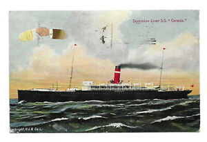 POSTCARD - Dominion Liner S.S.Canada - Cancelled Quebec 1913..