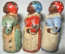 LOT OF 3 ANTIQUE HUBLEY PA USA BLACK MAMMY CAST IRON TOY ART STATUE PAPERWEIGHT