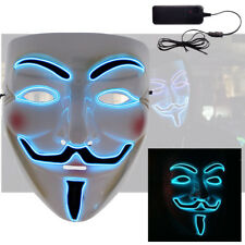 Blue LED Halloween Costume Cosplay Anonymous Vendetta Guy Fawkes Light Up Mask