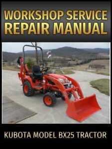Kubota Model BX25 Tractor Service Repair Manual on CD
