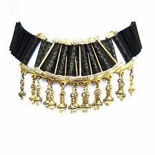 Vintage VTG 80s 1980s Black Embossed Snake Skin Leather Gold Embellished Belt