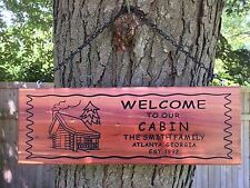 Personalized Custom Carved Rustic Camping Cabin Cedar Wood  Last Name Sign