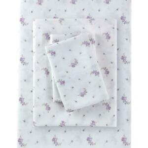 Rachel Ashwell Simply Shabby Chic Full Lavender Calico Sheet Set Polyester