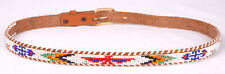 Native American Style Beaded Belt-Leather-Eagle Indian-Geometric-Vtg