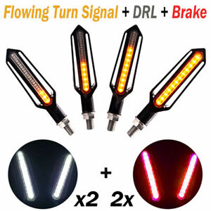 4 x 12-LED Motorcycle Turn Signal Lights Indicators Flowing Lamp Motorbike Amber