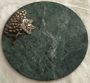 """Godinger""Grapes On Vine Marble Round Cheese Tray Silver Plated / Green Marble."