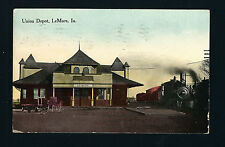 LeMars Iowa IA 1913 Union Depot Building, Train Engine 1822 at Stop, Freightcart