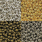Lots 10-500Pcs Metal Round Glossy Loose Spacer Beads 2-10mm Silver/Gold/Bronze