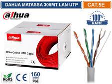 DAHUA CAVO RETE 305 METRI ETHERNET UTP CAT 5E 4X2 AWG 24 100% RAME LAN RJ45