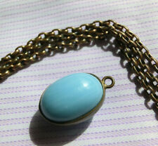 ANTIQUE VINTAGE OVAL EGG WATCH FOB PENDANT TURQUOISE GLASS BRASS