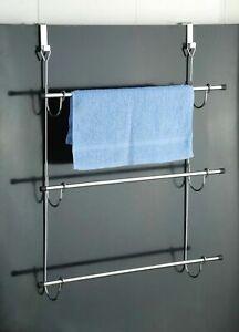 Over Door Towel Rail Bathroom Storage Rack Chrome 3 Tier Door Hanging Towel Rail