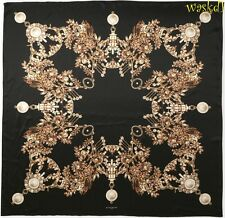 "GIVENCHY black JEWELS & PEARLS silk Charmeuse GIANT 54"" Scarf NEW AuthentIc $560"