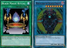 MAGICIAN OF BLACK CHAOS Ultra* + BLACK MAGIC RITUAL- 2-CARD SET - YGLD YUGIOH -