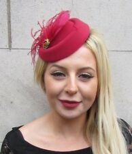 158e6172747fc Burgundy Wine Red Gold Feather Pillbox Hat Hair Clip Fascinator Wedding Vtg  6595