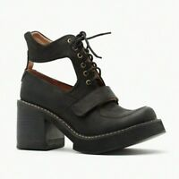 Jeffrey Campbell Exeter Black Distressed Cut Out Ankle Boots