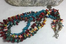 gem necklace/seashell/coral/t urquoise/(z138b-w5) Ethnic multi-strands mix