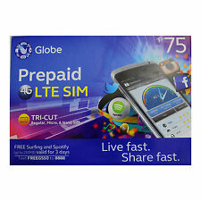 Philippines Globe Prepaid Roaming LTE Sim Card w/ P150 Tri Cut Nano Micro