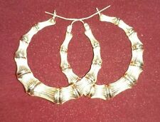 "1.7"" inch 10K Yellow Gold Round Bamboo Hoop Earrings - New"