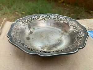 Vintage Rare Hand Carving Collectible German Silver Polish Serving Tray Plate