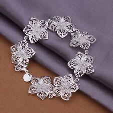 Pulsera mujer Cadena eslabones Flores Plata De Ley 925 20cm pulsera DA317