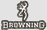 """Browning Logo #2 with Camo text Sticker Vinyl Decal 3.5"""" x 6"""""""