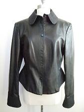 ARMANI COLLEZIONI black leather quilted trim peplum jacket size 10