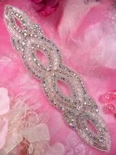 "Jb9 Aurora Borealis Silver Beaded Crystal Ab Rhinestone Applique 8.75"" Bridal ~"