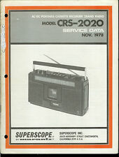 Rare Superscope/Marantz CRS-2020 Cassette Tape Deck Service Data Manual