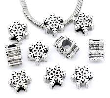 NEW Silver Christmas Xmas Snowflake Charm Beads Fit Most European Charm Bracelet