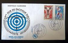 NOUVELLE CALEDONIE  375/76 PREMIER JOUR FDC  HALTEROPHILIE, BASKET  11+23F  1971