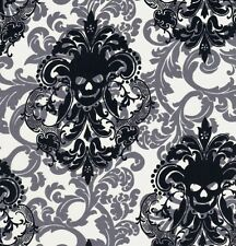 Michael Miller Gothic Black Damask Skulls on Ivory & Grey Cotton Fabric - FQ