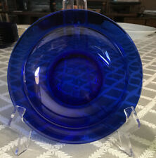 Beautiful Transparent Cobalt Blue Glass Flat-rim Soup Bowls, Excellent Cond.
