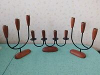 Scandinavian Wood Candelabras Taper Candle Holder Vtg Mid Century Danish Modern