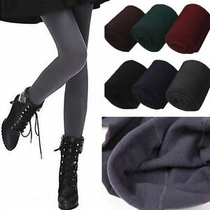 Womens Solid Winter Thick Warm Fleece Lined Thermal Stretchy Leggings Pants Hot