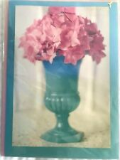 Papyrus Blank card - Gorgeous pink Flowers in Turquoise  Ceramic Vase & Pink Bow