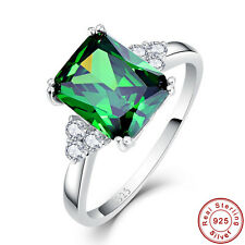 5.3CT Delicate Emerald 100% 925 Sterling Silver Gemstone Ring Size L½ N½ P½ R½