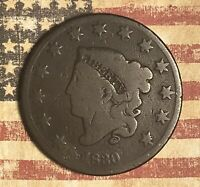 1830 Coronet Head Large Cent Copper Collector Coin. FREE SHIPPING