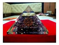 Extra Large LG 85mm Amethyst Orgone Crown Chakra Pyramid EMF Protection FengShui