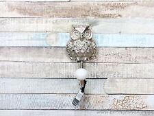 Chrome silver coloured owl single coat hook wall mounted
