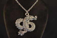 Coiled Dragon Pendant - Necklace Jewelry Brand New! Silver Tone Usa Seller!