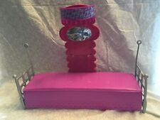 Barbie 2010 mirrored canopy bed daybed sofa. Sofa is purple.  Back piece is pink