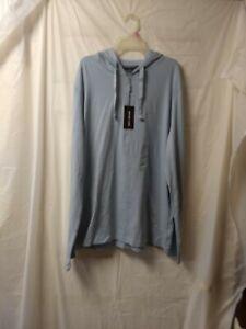 Michael Kors Mens Luxe Cotton Lightweight Hoodie Breeze Light Blue XL